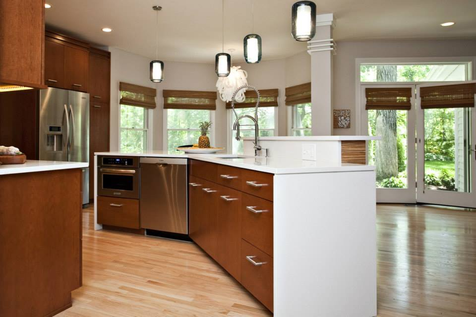 kitchen design naperville. This kitchen remodel features a clean design of mid century modern style  and spotlight on variety wood types as well custom artwork Downtown Naperville Kitchen Remodel Graefenhain Designs